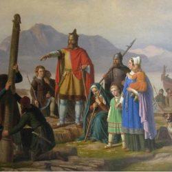 Ingolfur Arnarson sa obitelji, prvi naseljenici Islanda.